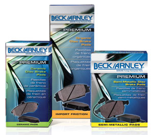 Beck/Arnley OE, Euro OE, and Ceramic Brake Pads