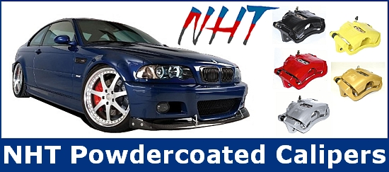 NHT Powdercoated Brake Calipers available in black, red, silver, yellow & gold