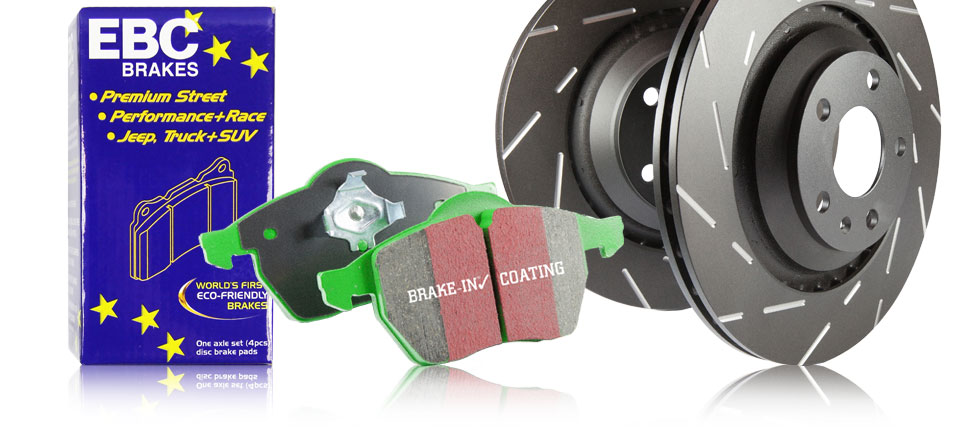 S2 Kits Greenstuff 2000 Sport Brake Pads and Black USR Rotors